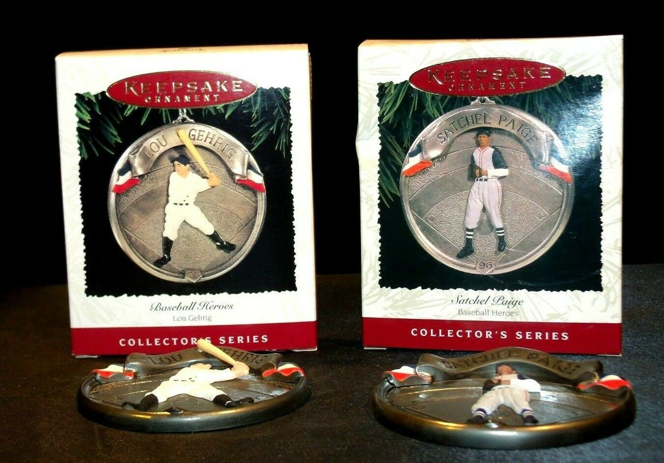 Hallmark Handcrafted Ornaments Baseball Heroes Satchel Paige and Lou Gehrig AA-1