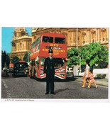 United Kingdom UK Postcard London Policeman Bobby Double Decker Bus - $2.09