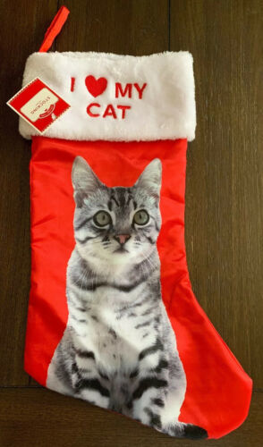 Primary image for Red White Satin Pet Kitty Christmas Stocking I Love My CAT Holiday Time New