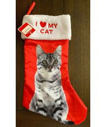 Red White Satin Pet Kitty Christmas Stocking I Love My CAT Holiday Time New - $14.84