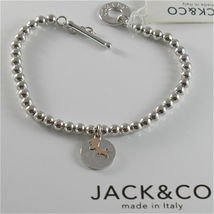 Silver 925 Bracelet Jack&co with Balls Shiny Gold round Pendant & Pink 9 KT image 6