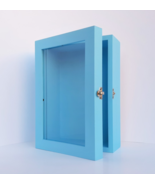 5x8 Blue Deep Wooden Shadow Box Frame with Glass Door, Memory Box, Home ... - $49.00