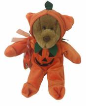 "Bear With Halloween Pumpkin Costume 12"" Plush And Bag - $14.84"