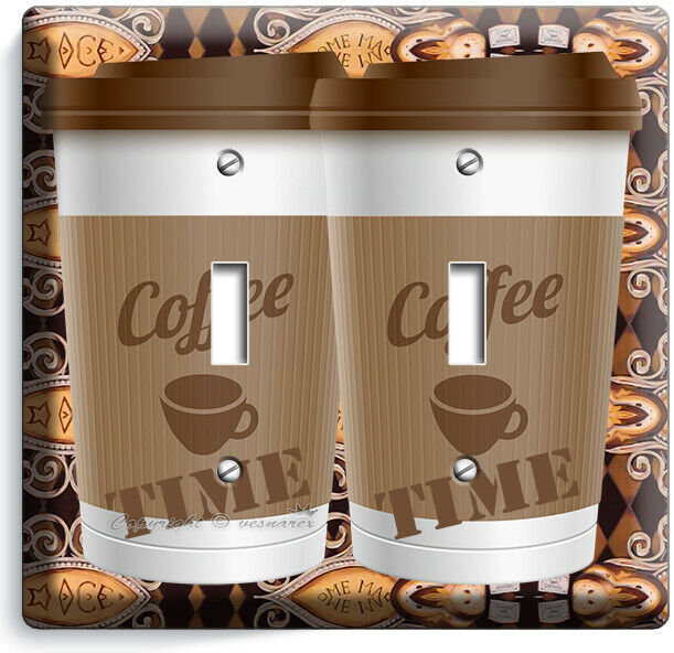 COFFEE TIME PAPER CUP LIGHT SWITCH OUTLET PLATE ROOM KITCHEN CAFE SHOP ART DECOR image 6