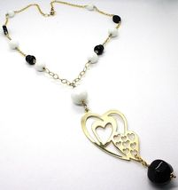 SILVER 925 NECKLACE, YELLOW, ONYX, AGATE WHITE, DOUBLE HEART, PENDANT image 3