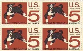 1966 5c Humane Treatment of Animals Block of 4 US Stamps Catalog Number 1307 MNH