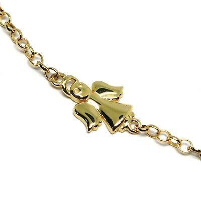 Bracelet Yellow Gold 18K 750, Girls, Plate, Angel, Length 16.5 CM