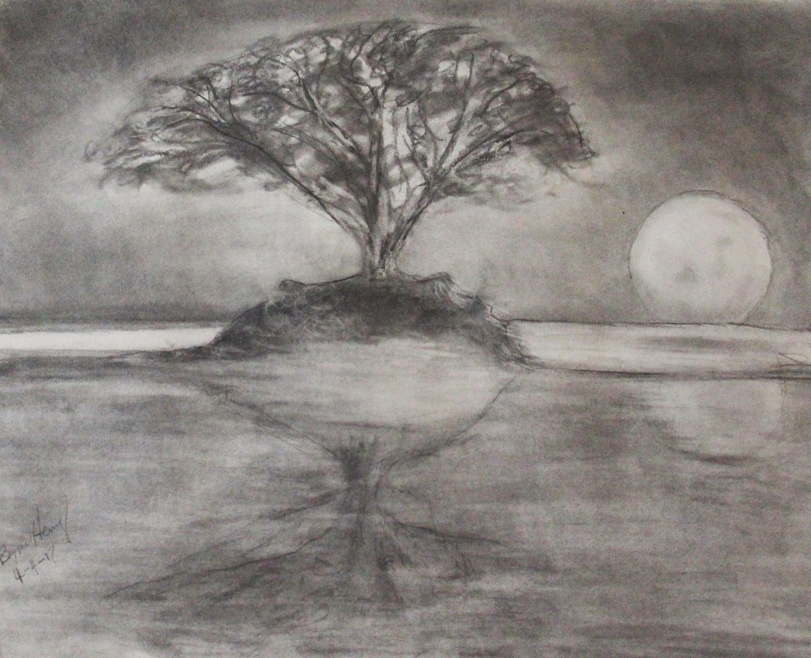 "Charcoal chalk drawing by Valley artist Bryan Henry ""Moon Over the Hudson II"""