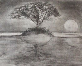 "Charcoal chalk drawing by Valley artist Bryan Henry ""Moon Over the Hudso... - $791.01"