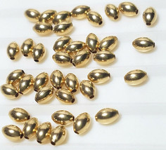 2 Pieces 14 K Gold Filled Bright Plain Oval Rice Beads  3 x 5 MM