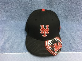 NEW YORK METS NEW ERA 59 FIFTY  SIZE 7 3/8 Fitted Baseball Cap Black/Red... - $28.32