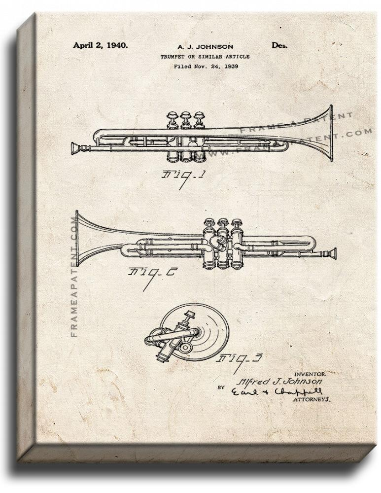 Primary image for Trumpet Patent Print Old Look on Canvas