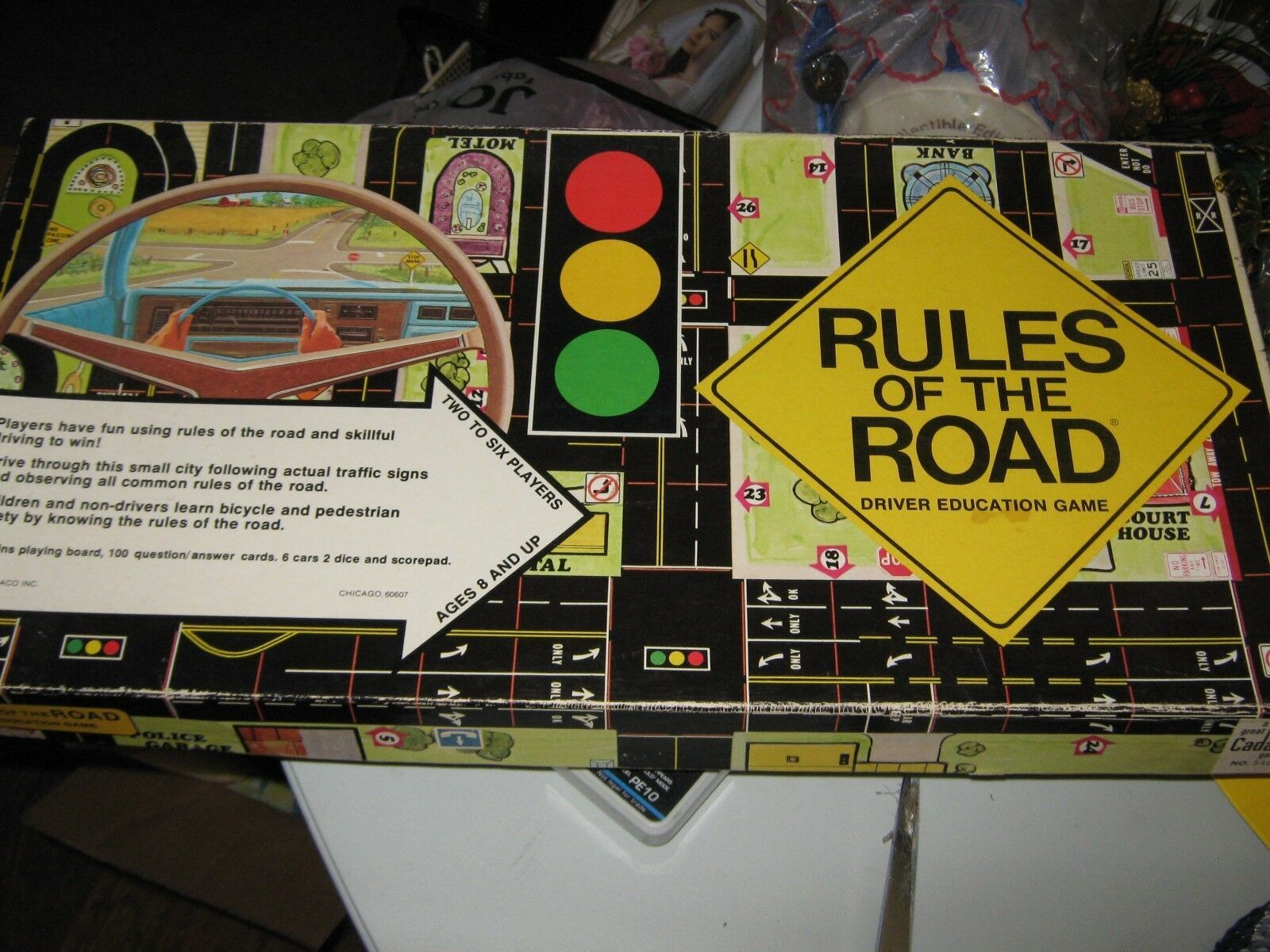 "Vintage 1977 Cadaco ""Rules of the Road"" Board Game - Missing Two Cars"