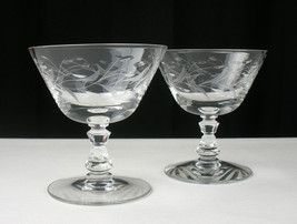 Fostoria Bridal Wreath Low Sherbet, Champagne Glasses Set, Vintage Elegant Cut - $26.68