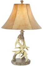 "Deer Antler Table Lamp Rustic Cabin Lodge Wildlife Decor 29"" - €108,62 EUR"