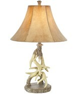 "Deer Antler Table Lamp Rustic Cabin Lodge Wildlife Decor 29"" - $167.16 CAD"