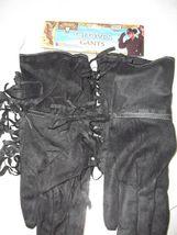 """Fringed Black Biker or Cowboy Gloves  Polyester Fringe Stretch 13"""" Long image 2"""