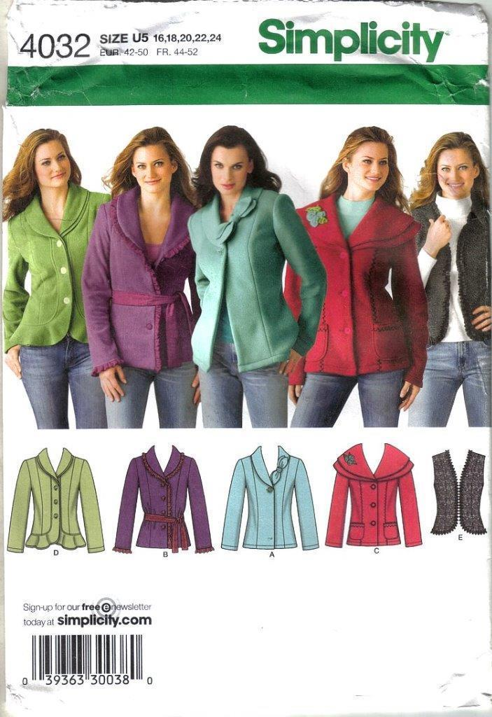 Primary image for Simplicity Pattern 4032 Jackets Vest Misses Szs 16 - 24 Uncut