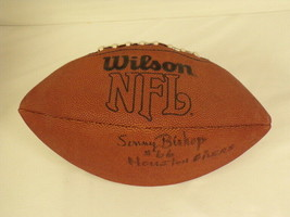 Sonny Bishop Signed Full Size Wilson NFL Football Oilers '62 Texans Fres... - $74.44