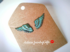 Hypo-Allergenic Patina Feather Stud Earrings Patina Wing Studs Boho Earr... - $38.00