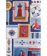 Set Sail for the Ocean Nautical Patchwork Vinyl Flannel Back Tablecloth ... - $18.80