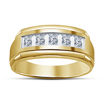 Solid 925 Silver Yellow Gold Plated Princess Sim Diamond Five Stone Band Ring - $66.99