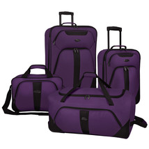 US Traveler Oakton 4pc Purple Light Rolling Luggage Suitcase Duffel Tote... - $98.99