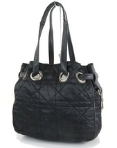 Auth CHRISTIAN DIOR Black Quilted Nylon Tote Shoulder Bag Purse #33256 - $349.00