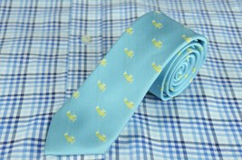Wembley Men's Tie Ice Blue & Green Plane Geometric Woven Silk Necktie 60... - $17.99