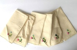 Lot of 6 Ivory  Vintage Floral Embroidered Tea Cocktail Linen Napkins Lo... - $18.53