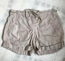 "Ann Taylor LOFT Sz 3 Tan Rope Belt Flat Front Shorts 4"" Inseam 100% Cotton - $15.79"