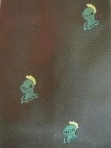 Vintage CHADWICK WEMBLEY Necktie Mid Century Brown Green Knight Helmet - $14.03