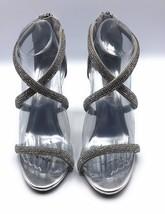 "Steve Madden ""Faiz"" Silver Metallic Crystal 4"" Heel Sandal Size 7 - $37.99"