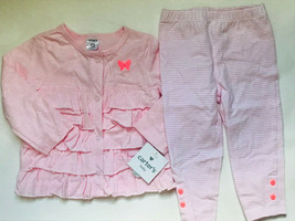 Baby Girl's Size 12M 9-12 Months Two Piece Carter's Pink NWT Ruffle Top, Legging - $19.00