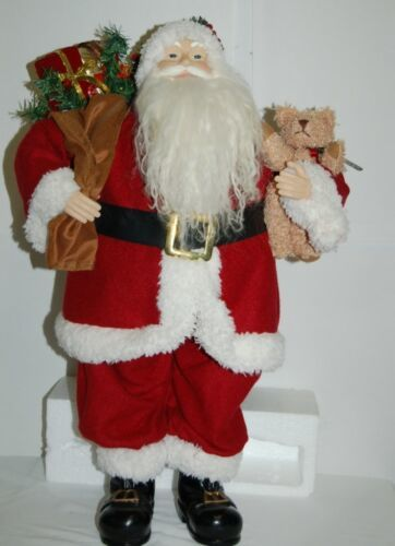 American Silkflower Santa Holding Bear Present Sack 23 Inches Tall