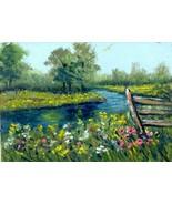 Original Oil Aceo Painting Flowers by creek, Summer landscape Artist P. ... - $5.00