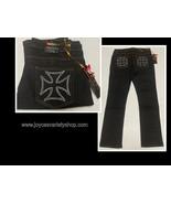 ZZVET Black Jeans Indigo Stretch Iron Cross Design Various Sizes - $11.99