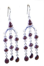 jewelry 925 Sterling Silver excellent genuine Red Earring gift UK - $15.66
