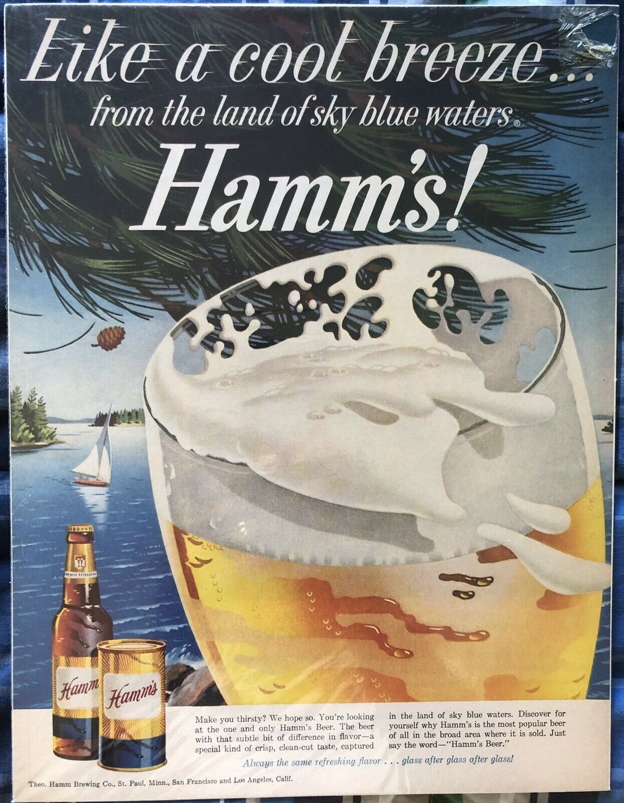 Primary image for Hamm's Print Ad Like A Cool Breeze 13 1/2 X 10 1/4 1963