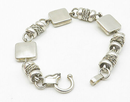 MEXICO 925 Sterling Silver - Vintage Square Twisted Link Chain Bracelet - B4389