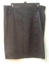 Ellen Tracy Reptile Snakeskin Look Black Skirt Sz M Medium - $13.95