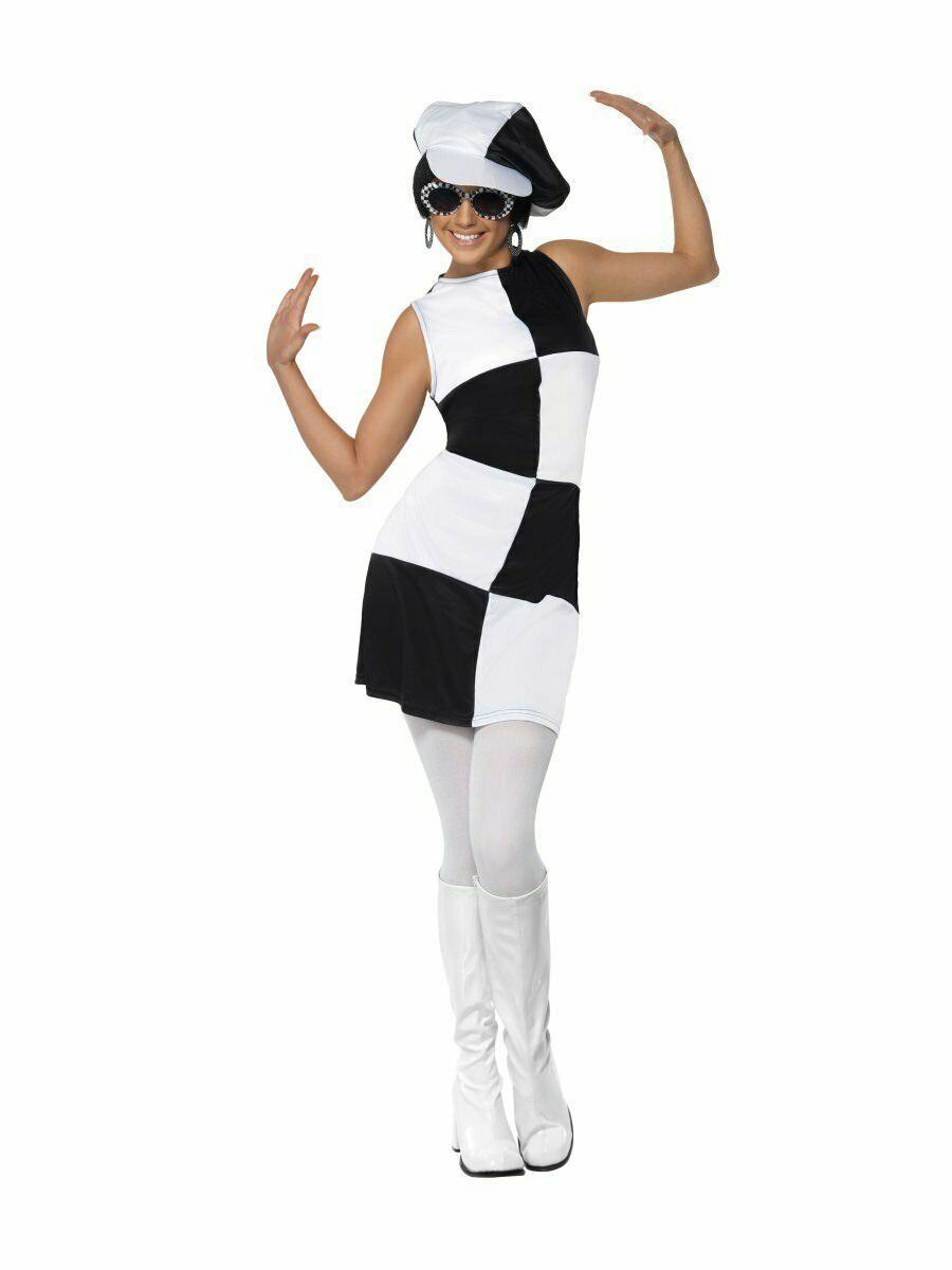 Smiffys 1960s Gogó Chica Fiestera Vestido Modelo Adulto Mujer Disfraz Halloween