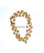 Rudraksha Mala / Rudraksha Rosary - 55 Beads - In Silver Self Design Caps - $70.00