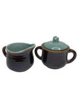 Red Wing Pottery Village Green Sugar Bowl & Creamer Lid Handles Stonewar... - $29.69