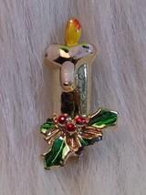 Enamel Christmas Candle Brooch Christmas Pin Collectible - $2.40