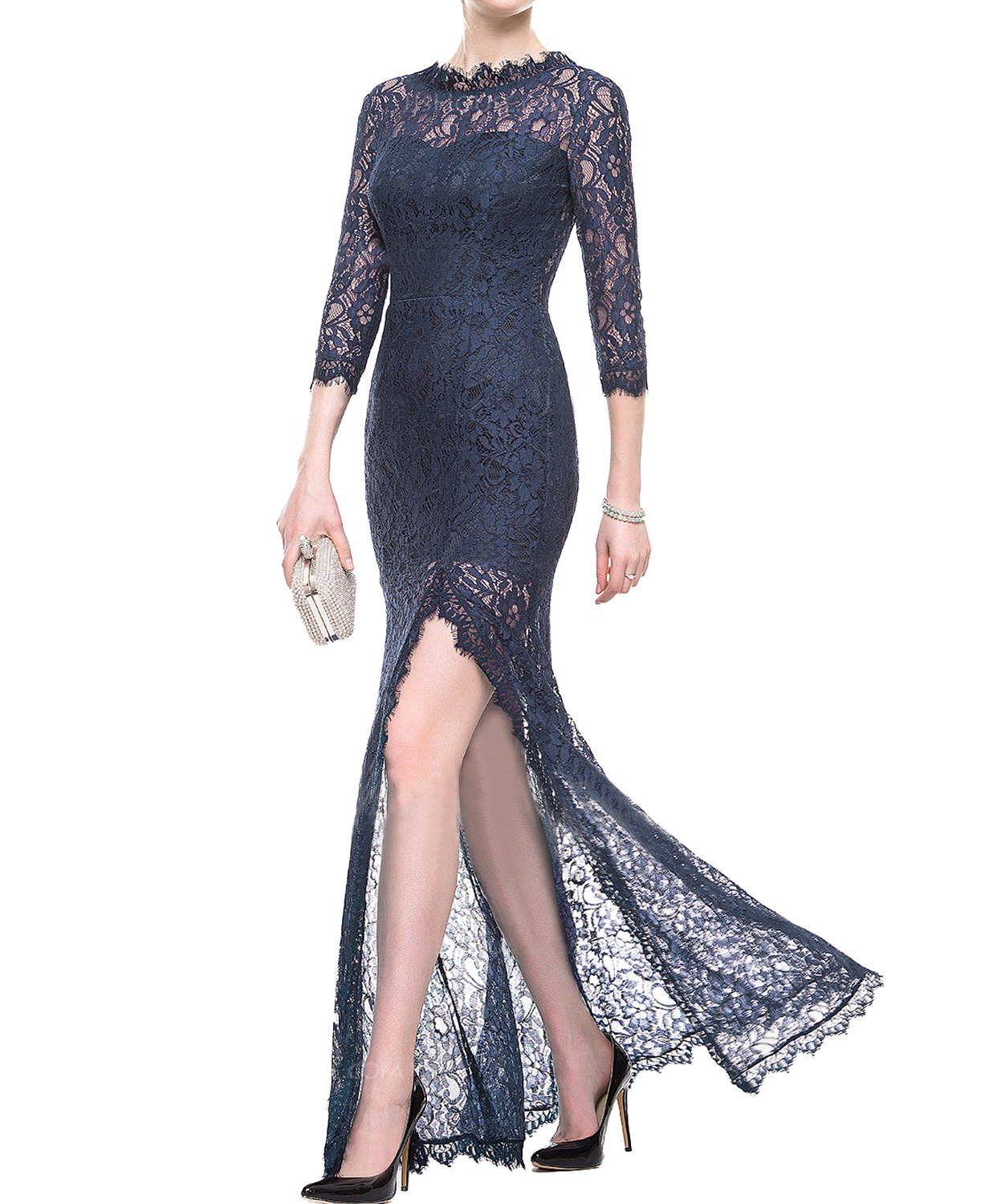 Navy Blue Sheath Lace Evening Dress,Sexy Lace Navy Blue Sheath Long Prom Dresses
