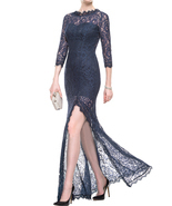 Navy Blue Sheath Lace Evening Dress,Sexy Lace Navy Blue Sheath Long Prom... - ₹11,331.91 INR