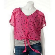Lily Rose Juniors Chiffon Sheer Star Front Tie Blouse - $14.99