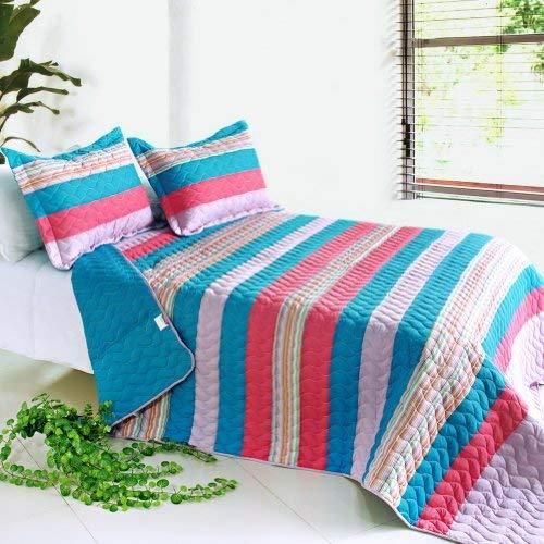 [Walnut World] 3PC Vermicelli-Quilted Striped Quilt Set (Full/Queen Size)