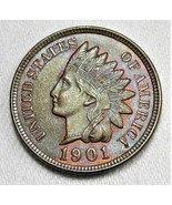 1901 Indian Cent VCH+ UNC Brown Red in Protected Areas AD135 - $77.33